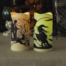 """Halloween Decor Battery-operated Color Changing Flickering LED 3""""x6"""" Plastic Resin Candle With """"Witch""""""""Haunted House""""Pattern"""