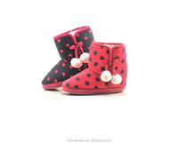 Girls Winter Indoor Slipper Boots with printing polka dots Fleece cheap warm indoor boots with pom pom