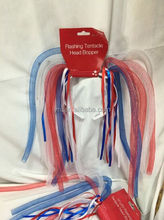Flashing 4th Of July Head Band Bopper Tentacle Fourth Red White Blue Party