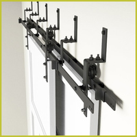 Bypass Sliding Barn Wood Door Hardware Interior Sliding Door Black Rustic Sliding Track Kit