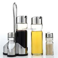 Healthful 5X Salt Pepper Oil Sauce Vinegar Dispenser Cruet Condiment Sets Kitchen Glass Stainless Steel Spices Container Bottle