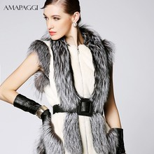 Women's Real Natural Mink Fur Coat with Fox Fur
