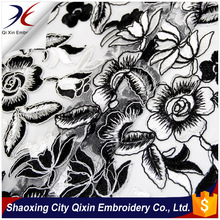 SHAOXING NEW ARRIVAL HIGH QUALITY THICK AFRICAL FRENCH CHEMICAL CORD LACE EMBROIDERY ON NYLON NET GROUND FOR WEDDING LACE DRESS