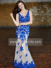 Formal scoop neck lace applique tulle see through bottom evening dress