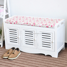 white painted distressed retro wooden foot rest stool