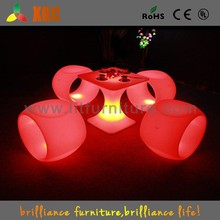 White Plastic Outdoor Table and Chair/Outdoor Table/Outdoor Pool Side Table/LED Garden Table//GF338
