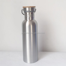 single wall stainless steel sports water bottle with bamboo lid
