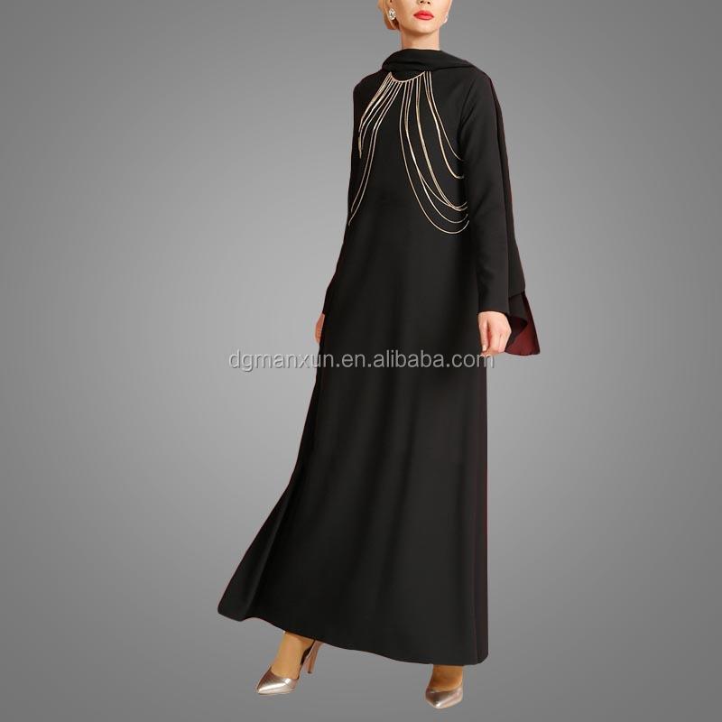 Fashion Islamic muslim evening dress for ladies black abaya in dubai 2017 (1).jpg