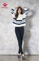 [Finevery] women's basic knitted sweater with thick and thin striped pattern and boxy-fit/wide sleeves design