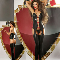 New Fashion Sexy Jumpsuits for Adults Women Sexy Faux Leather Latex Catsuit Lady's Fetish Teddy Dance Clothes Front Red Ribbon