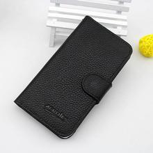 black color leather flip case for alcatel one touch 6030d