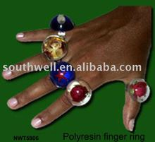 lucite finger Ring with dry mini flower in lucite,available in customized