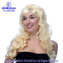 2015 Sale New Wigs for women Perruque long wavy synthetic fashion colored costume blonde long curly costume halloween wig
