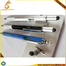 6 in 1 multi-functional metal ballpoint pen with stylus, ruler, screwdriver and level