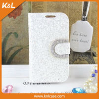 Mobile Phone PU Case for Samsung Galaxy S3 Case, PU leather with diamond