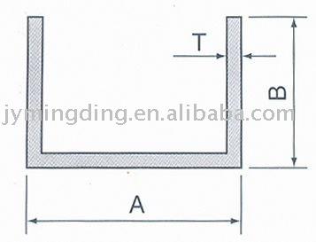 En forma de U de aluminio perfil
