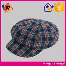 New Products vintga plaid octagonal hat newsboy hats