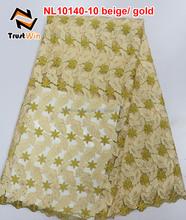 Nigeian tulle lace projeto do bordado para o vestido de nl10140 bege / ouro