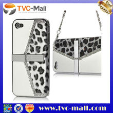 For iPhone 4 4S Luxurious Leopard Jewel Electroplating Hard Stand Case with Chain Handle