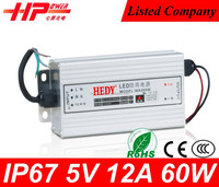 High efficieny best qualiIty waterproof series led power supply constant voltage single output 60 watt 12a 5v universal adapter