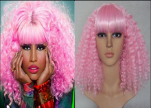 DELUXE NICKI MINAJ LONG PINK CANDY CURLY PERMED AFRO STYLE 80'S WIG WITH FRINGE