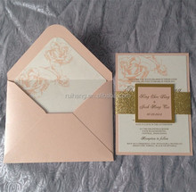 champagne glitter paper for wedding invitation