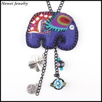 Newei 2015 New Arrive Handmade Purple Fabric Elephant Shaped Pendant Long Chain Necklace