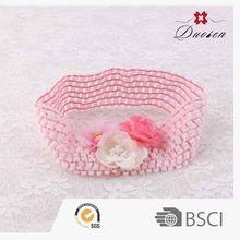 Trendy 100% Handmade Plain Pink Flower Headbands Elastic