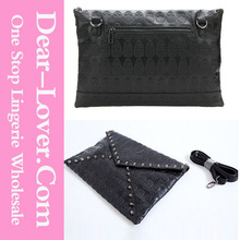 Black Studded Skull Oversized Clutch Bag