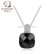Wholesale Chinese statement pendant chain jewelry Dinfair 2014 fashion 18k white gold necklace