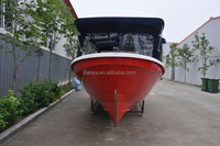 Liya fishing equipment cheap panga boat 7.6m fiberglass boat with cabin