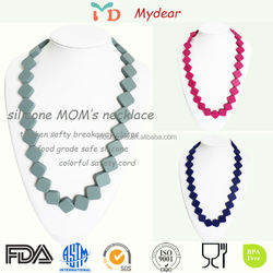 Wholesale 100% Food Grade FDA Approved BPA Free Fashion Chewable Nursing Silicone Teething Bead Necklace