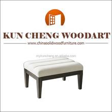 Retro Modern White Linen Ottoman | Contemporary Ebony Wood
