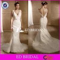 CE1006 Sexy V-Neck Appliques Lace Mermaid Court Train Pakistan Bridal Dress