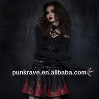 PUNK RAVE Wholesale goth black-red miniskirt punk clothing Q-128