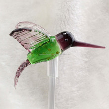 Personalized Crystal Glass hummingbird Figurines factory wholesale with glass pipe for LED light Decoration