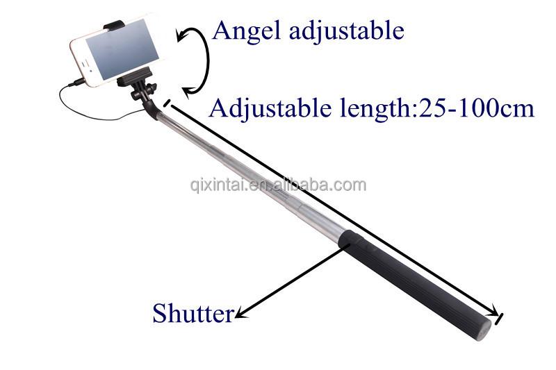 monopod selfie stick telescopic wired remote mobile phone holder ebay. Black Bedroom Furniture Sets. Home Design Ideas