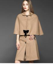 2 unidades de la falda Runway invierno 2015 mujeres Poncho del cabo del capote de la capa de lana + delgado oficina falda ( 1 Unidades ) traje chaqueta de la capa Boutique