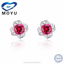 wholesale 925 sterling silver stud earrings with high quality synthetic gem