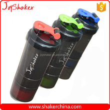 3 in 1 Sports Shake Bottle,BPA Free plastic Protein Powder Shake Bottles with Storage Compartment / Pill Box