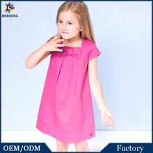 2015 Stlye Sleeve Floral Knitting O-neck Gathering Princess children dress Fashion Pink girls dress