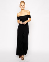 2014 Sexy Black Wide Leg Strapless Women Rompers and Jumpsuits
