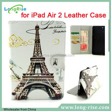 Cheap Eiffel Tower Pattern Magnetic Side Flip Leather Stand Case Cover for iPad Air 2 Leather Case with Cash Slot