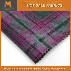 Free Sample Supplied Checked Polyester Rayon Double Woven fabric in Good Color