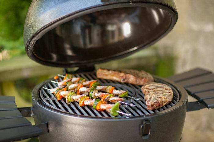 kamado charcoal smoker grilling grill with cart for backyard outdoor