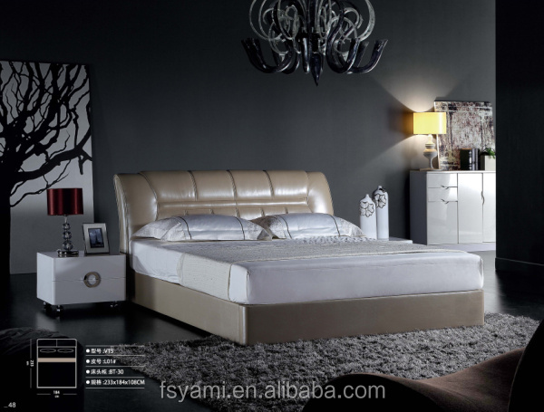 Luxury white leather bed WMV15