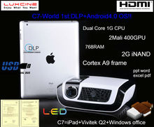Super bright !!! projector china mobile phone C7 Android dlp projector with WIFI and DLNA