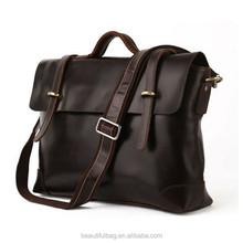 Men's Head Cowhide Laptop Bag Genuine Leather Portfolio Business Bag briefcase