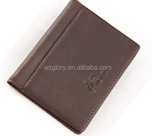 Promotional Fashion Leather Money Clip front pocket wallet with magnet clip and card ID Case