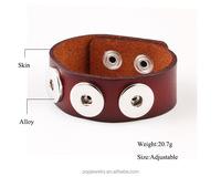 Wholesale leather bracelet chunky snap charm